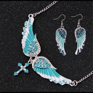 Blue Angel Wing Necklace & Earring Set